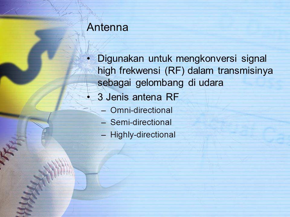 Antenna Digunakan untuk mengkonversi signal high frekwensi (RF) dalam transmisinya sebagai gelombang di udara 3 Jenis antena RF –Omni-directional –Semi-directional –Highly-directional