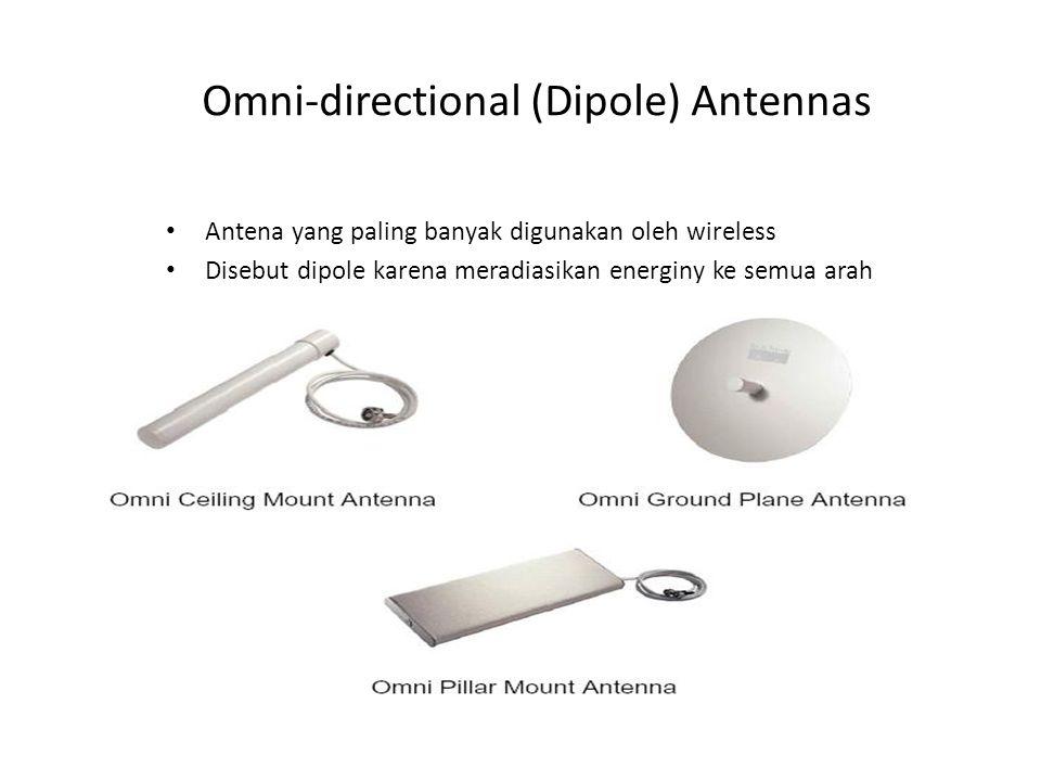 Omni-directional (Dipole) Antennas Antena yang paling banyak digunakan oleh wireless Disebut dipole karena meradiasikan energiny ke semua arah