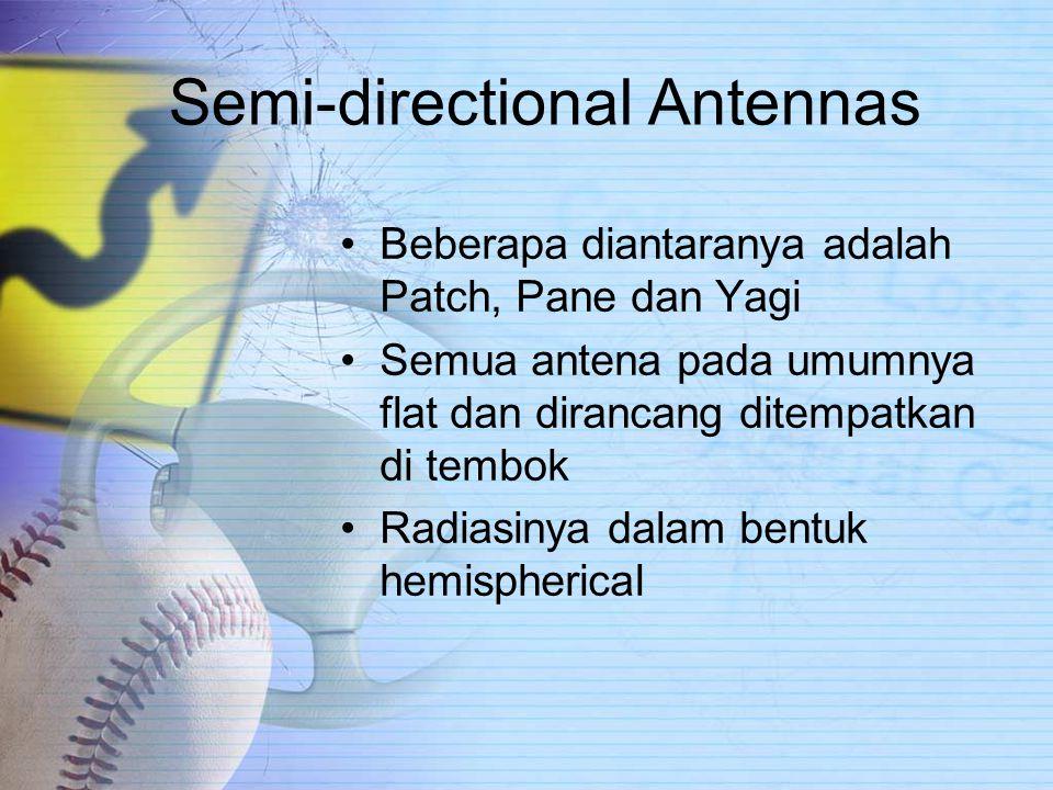 Semi-directional Antennas Beberapa diantaranya adalah Patch, Pane dan Yagi Semua antena pada umumnya flat dan dirancang ditempatkan di tembok Radiasinya dalam bentuk hemispherical