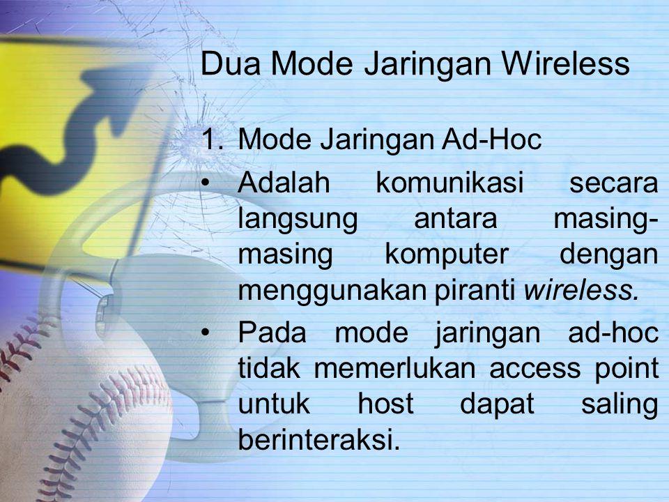 Dua Mode Jaringan Wireless 1.Mode Jaringan Ad-Hoc Adalah komunikasi secara langsung antara masing- masing komputer dengan menggunakan piranti wireless.