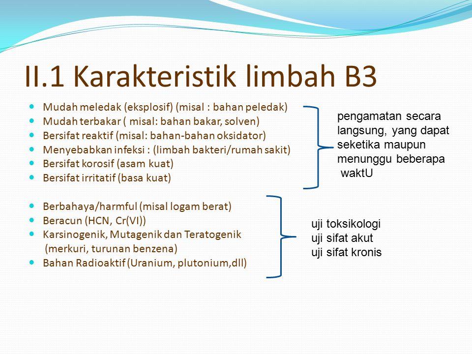 II.1 Karakteristik limbah B3 Mudah meledak (eksplosif) (misal : bahan peledak) Mudah terbakar ( misal: bahan bakar, solven) Bersifat reaktif (misal: b