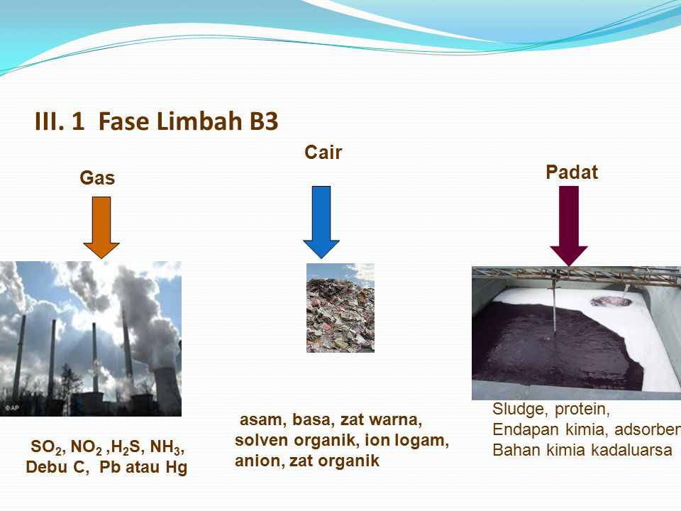 III. 1 Fase Limbah B3 Gas Cair Padat SO 2, NO 2,H 2 S, NH 3, Debu C, Pb atau Hg asam, basa, zat warna, solven organik, ion logam, anion, zat organik S