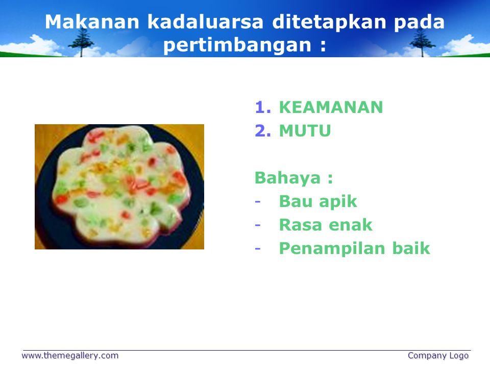 www.themegallery.com Company Logo Makanan kadaluarsa ditetapkan pada pertimbangan : 1. 1.KEAMANAN 2. 2.MUTU Bahaya : - -Bau apik - -Rasa enak - -Penam