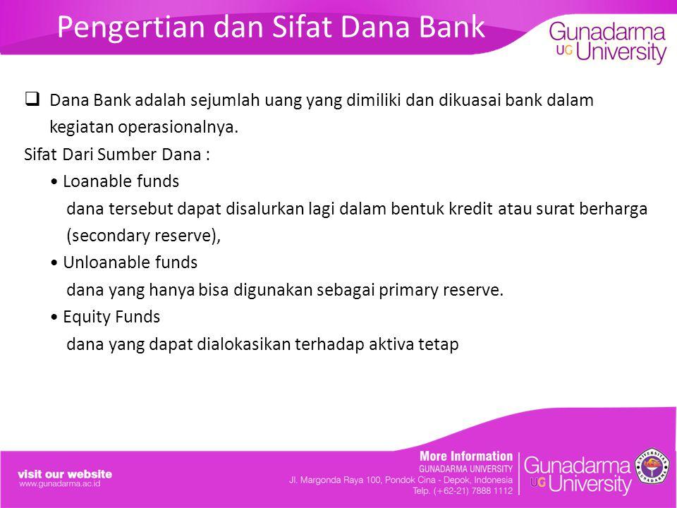 Pengertian dan Sifat Dana Bank  Dana Bank adalah sejumlah uang yang dimiliki dan dikuasai bank dalam kegiatan operasionalnya. Sifat Dari Sumber Dana