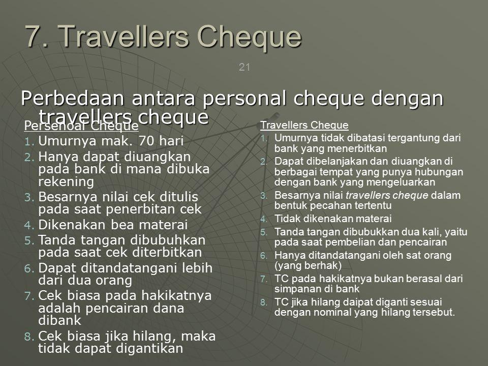 21 Perbedaan antara personal cheque dengan travellers cheque 7.