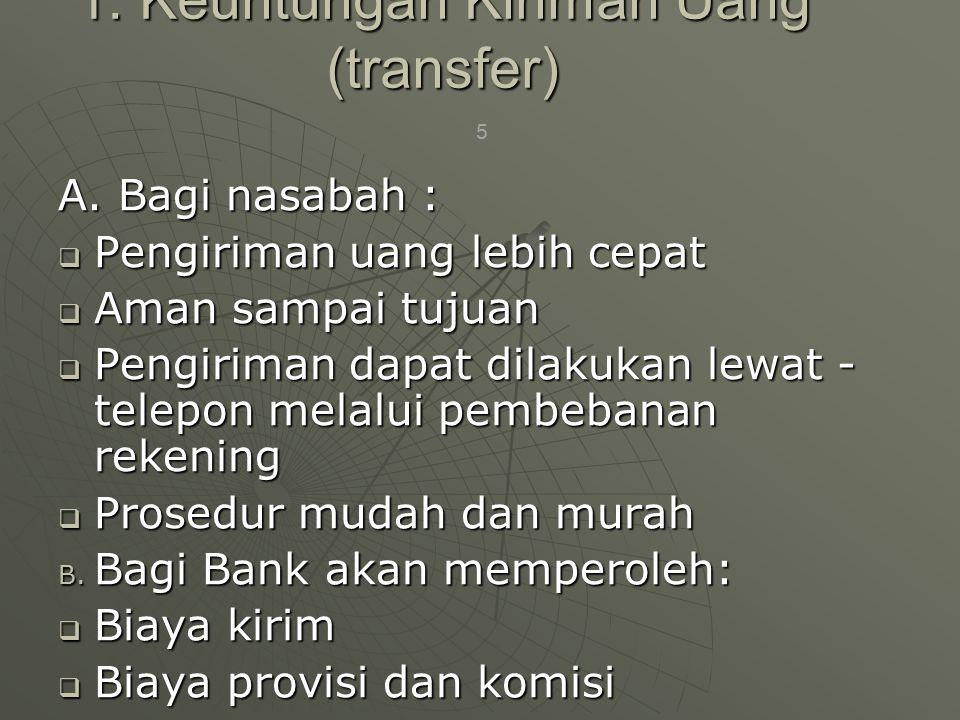 1. Keuntungan Kiriman Uang (transfer) A. Bagi nasabah :  Pengiriman uang lebih cepat  Aman sampai tujuan  Pengiriman dapat dilakukan lewat - telepo