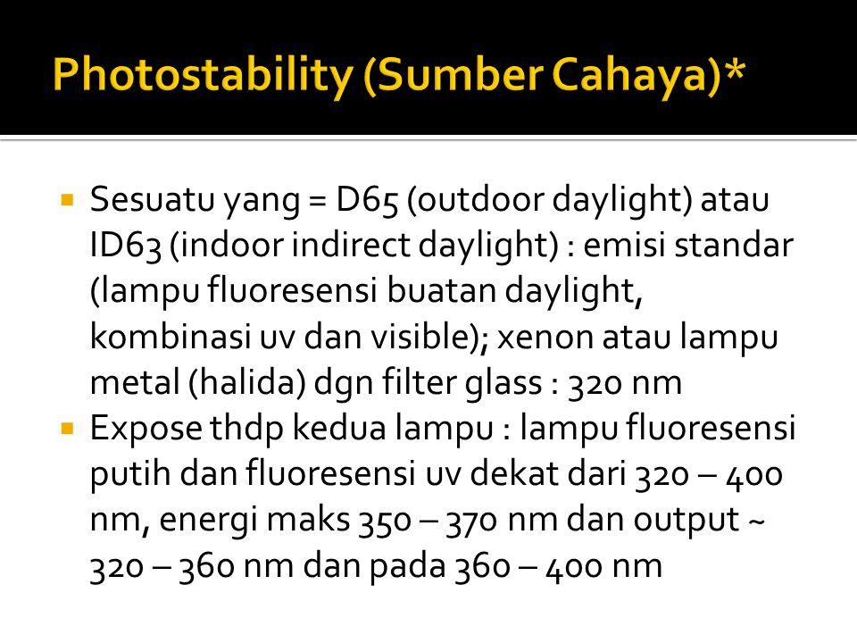  Sesuatu yang = D65 (outdoor daylight) atau ID63 (indoor indirect daylight) : emisi standar (lampu fluoresensi buatan daylight, kombinasi uv dan visi