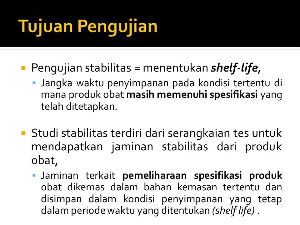  Pengujian stabilitas = menentukan shelf-life,  Jangka waktu penyimpanan pada kondisi tertentu di mana produk obat masih memenuhi spesifikasi yang t