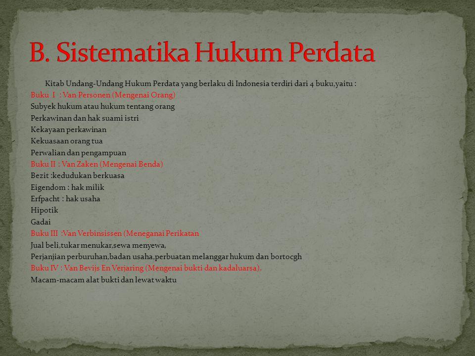Kitab Undang-Undang Hukum Perdata yang berlaku di Indonesia terdiri dari 4 buku,yaitu : Buku I : Van Personen (Mengenai Orang) Subyek hukum atau hukum