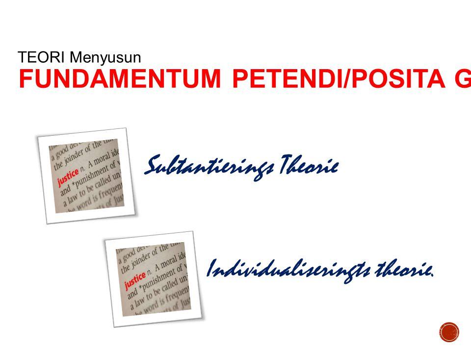 Subtantierings Theorie TEORI Menyusun Individualiseringts theorie. FUNDAMENTUM PETENDI/POSITA GUGATAN
