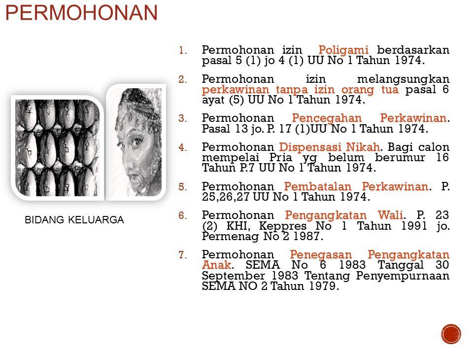 Poligami 1. Permohonan izin Poligami berdasarkan pasal 5 (1) jo 4 (1) UU No 1 Tahun 1974. perkawinan tanpa izin orang tua 2. Permohonan izin melangsun
