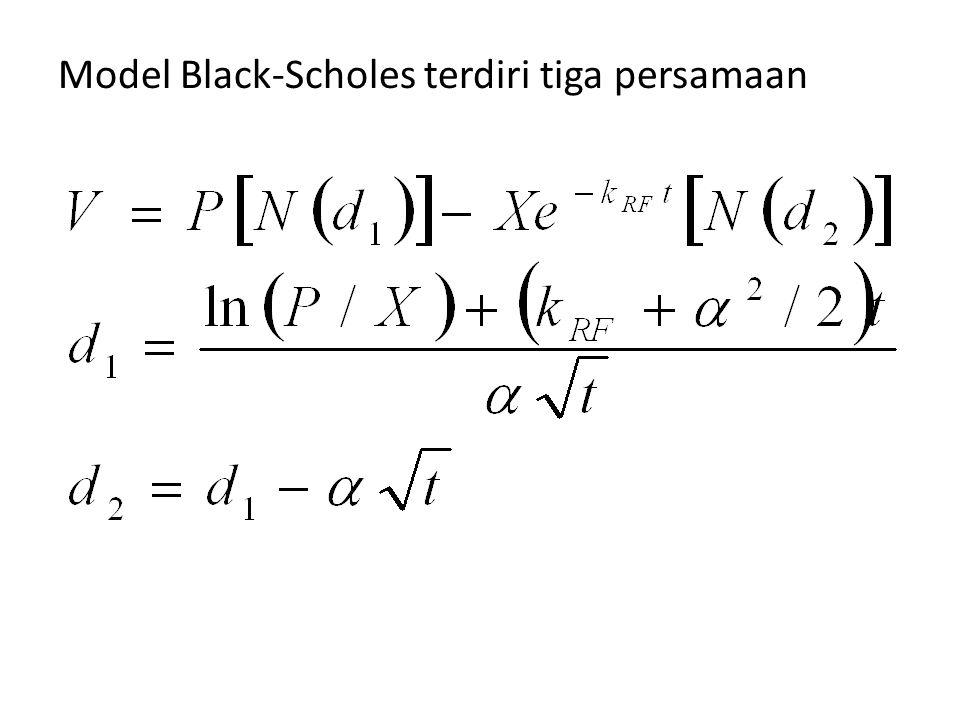 Model Black-Scholes terdiri tiga persamaan