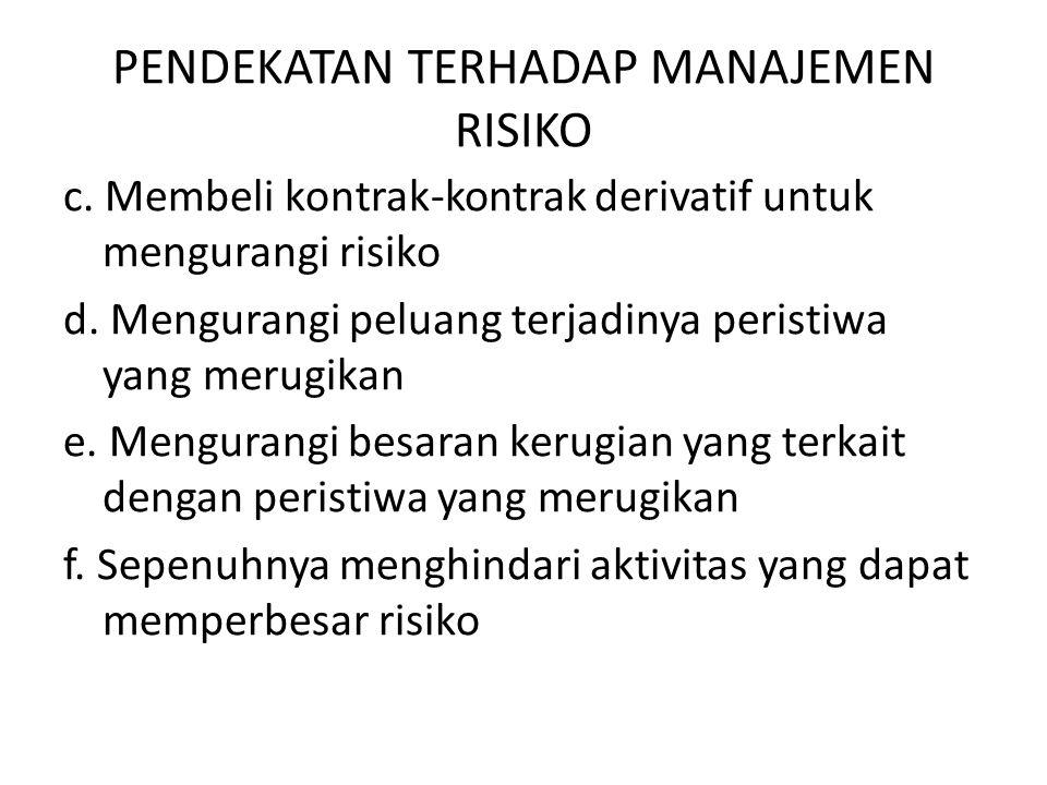 PENDEKATAN TERHADAP MANAJEMEN RISIKO c. Membeli kontrak-kontrak derivatif untuk mengurangi risiko d. Mengurangi peluang terjadinya peristiwa yang meru