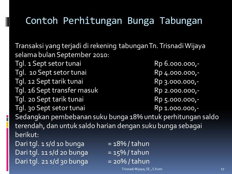 Contoh Perhitungan Bunga Tabungan Trisnadi Wijaya, SE., S.Kom 17 Transaksi yang terjadi di rekening tabungan Tn. Trisnadi Wijaya selama bulan Septembe