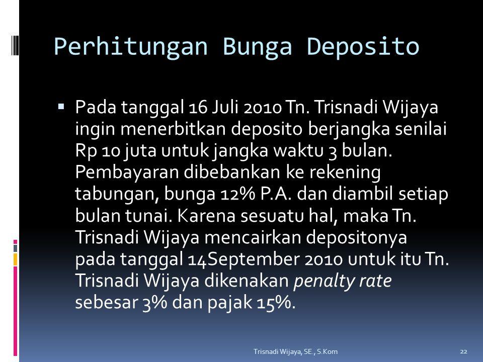 Perhitungan Bunga Deposito  Pada tanggal 16 Juli 2010 Tn. Trisnadi Wijaya ingin menerbitkan deposito berjangka senilai Rp 10 juta untuk jangka waktu