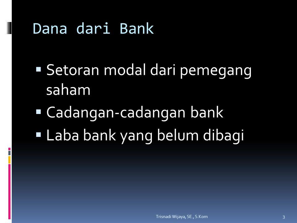Dana dari Masyarakat  Dalam bentuk simpanan berupa:  Simpanan giro  Simpanan tabungan  Simpanan deposito 4 Trisnadi Wijaya, SE., S.Kom