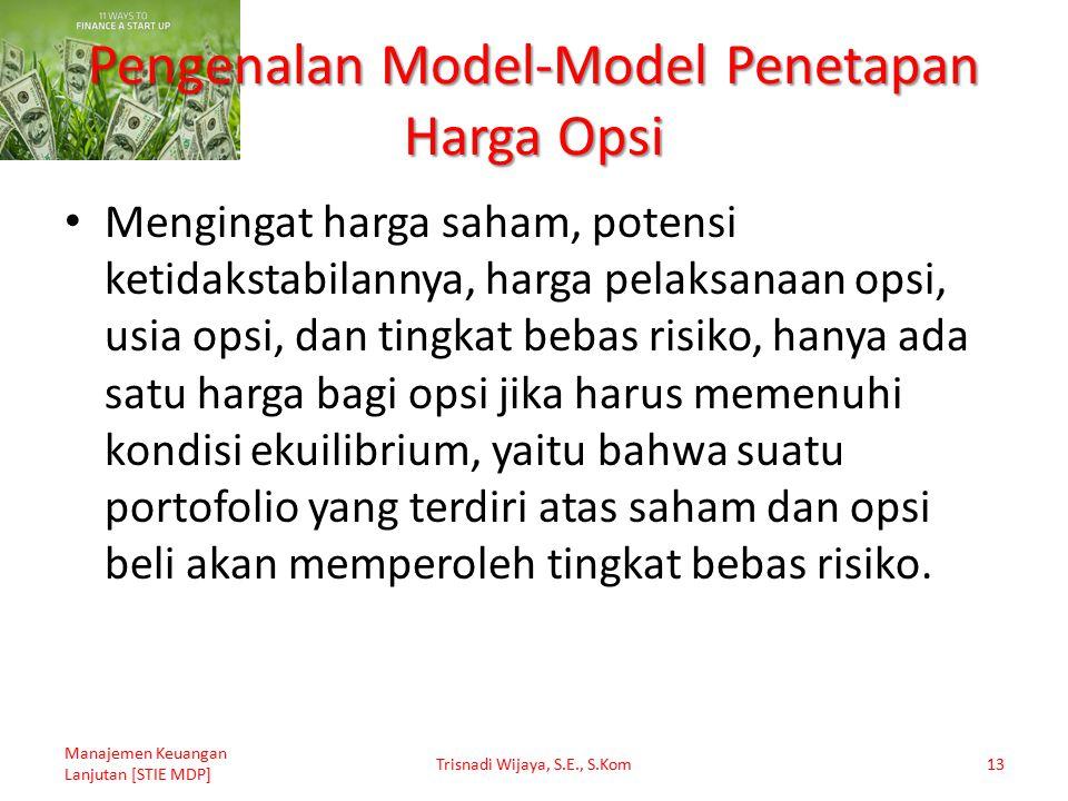 Pengenalan Model-Model Penetapan Harga Opsi Mengingat harga saham, potensi ketidakstabilannya, harga pelaksanaan opsi, usia opsi, dan tingkat bebas ri