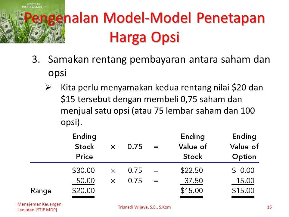 Pengenalan Model-Model Penetapan Harga Opsi 3.Samakan rentang pembayaran antara saham dan opsi  Kita perlu menyamakan kedua rentang nilai $20 dan $15