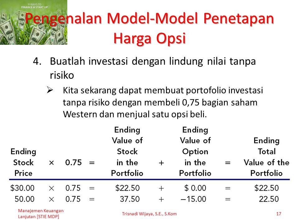 Pengenalan Model-Model Penetapan Harga Opsi 4.Buatlah investasi dengan lindung nilai tanpa risiko  Kita sekarang dapat membuat portofolio investasi t