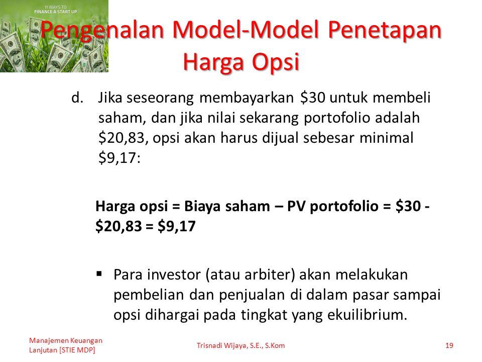 Pengenalan Model-Model Penetapan Harga Opsi d.Jika seseorang membayarkan $30 untuk membeli saham, dan jika nilai sekarang portofolio adalah $20,83, op