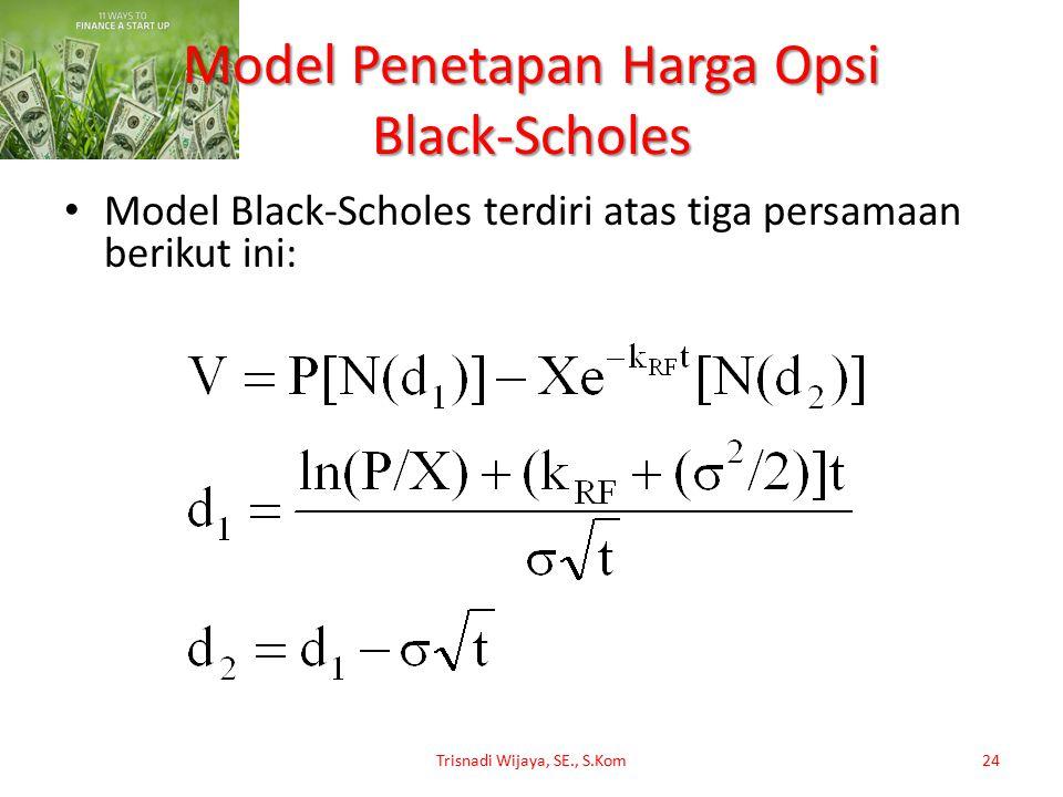 Model Penetapan Harga Opsi Black-Scholes Model Black-Scholes terdiri atas tiga persamaan berikut ini: Trisnadi Wijaya, SE., S.Kom24