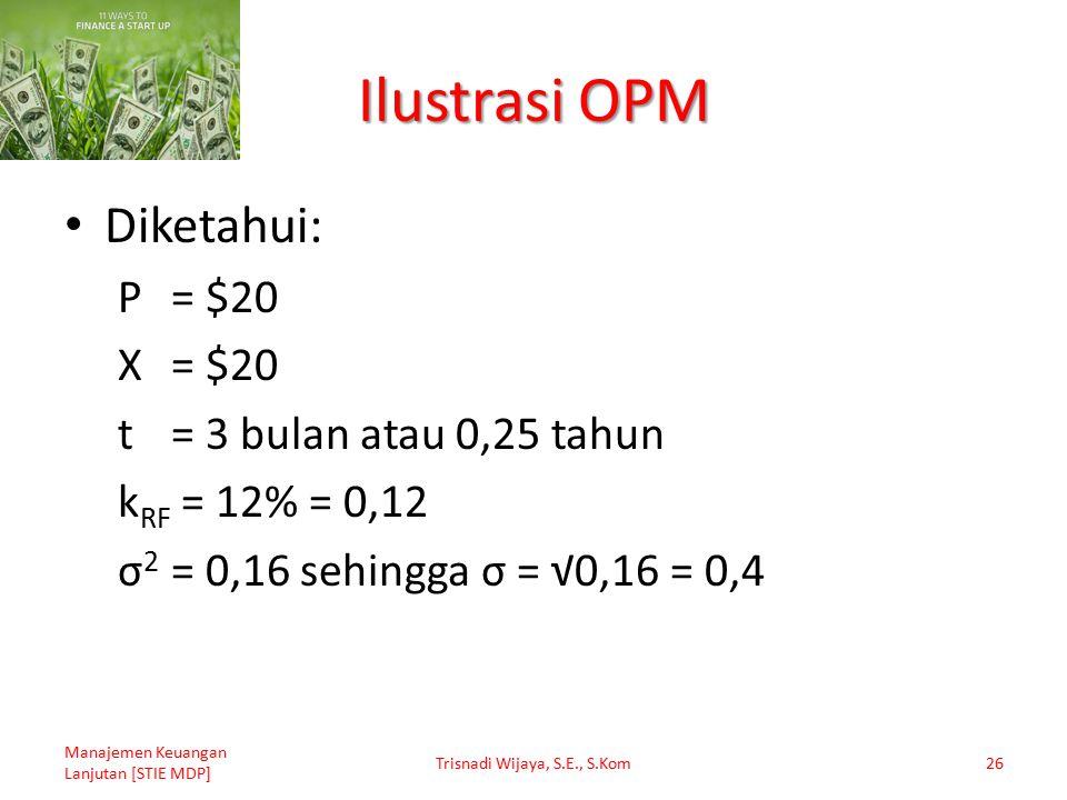 Ilustrasi OPM Diketahui: P= $20 X= $20 t= 3 bulan atau 0,25 tahun k RF = 12% = 0,12 σ 2 = 0,16 sehingga σ = √0,16 = 0,4 Manajemen Keuangan Lanjutan [S