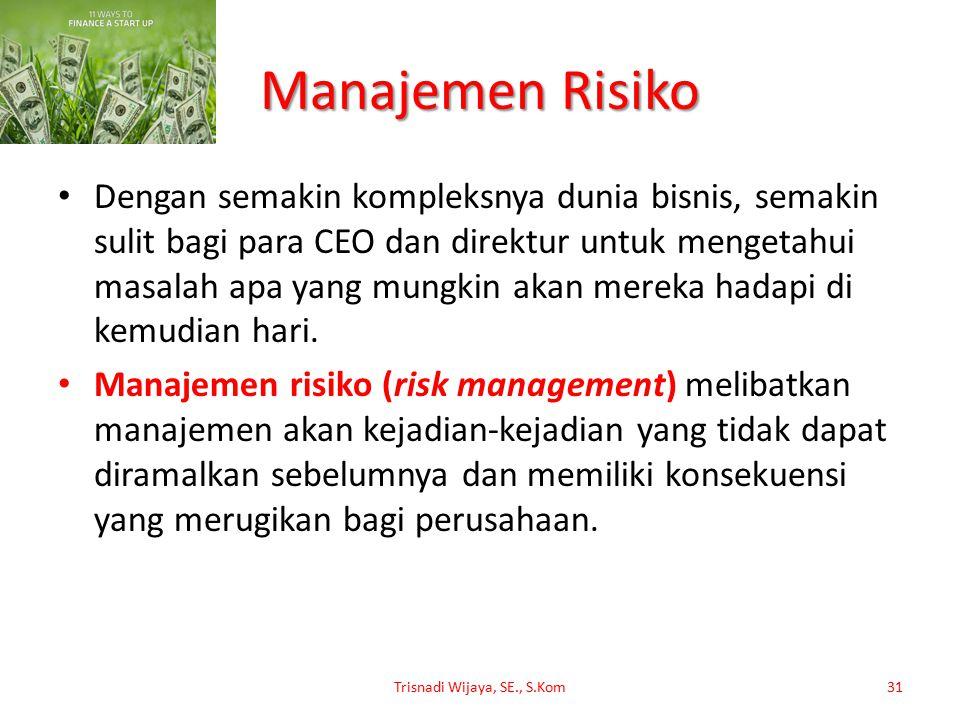 Manajemen Risiko Dengan semakin kompleksnya dunia bisnis, semakin sulit bagi para CEO dan direktur untuk mengetahui masalah apa yang mungkin akan mere