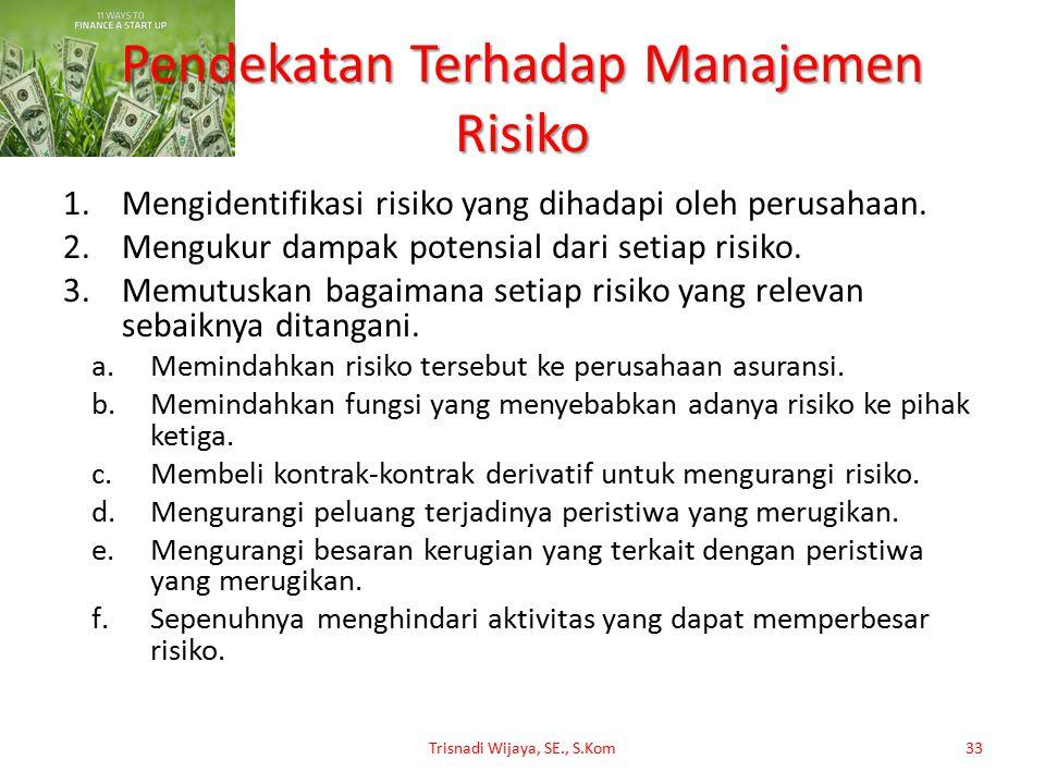 Pendekatan Terhadap Manajemen Risiko 1.Mengidentifikasi risiko yang dihadapi oleh perusahaan. 2.Mengukur dampak potensial dari setiap risiko. 3.Memutu