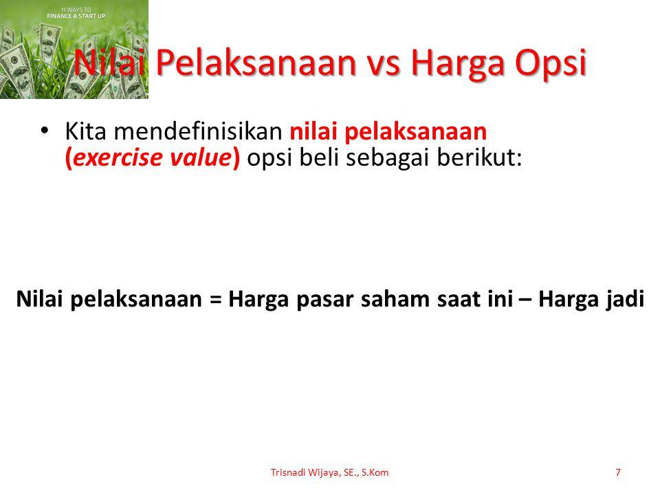 Nilai Pelaksanaan vs Harga Opsi Kita mendefinisikan nilai pelaksanaan (exercise value) opsi beli sebagai berikut: Trisnadi Wijaya, SE., S.Kom7 Nilai p