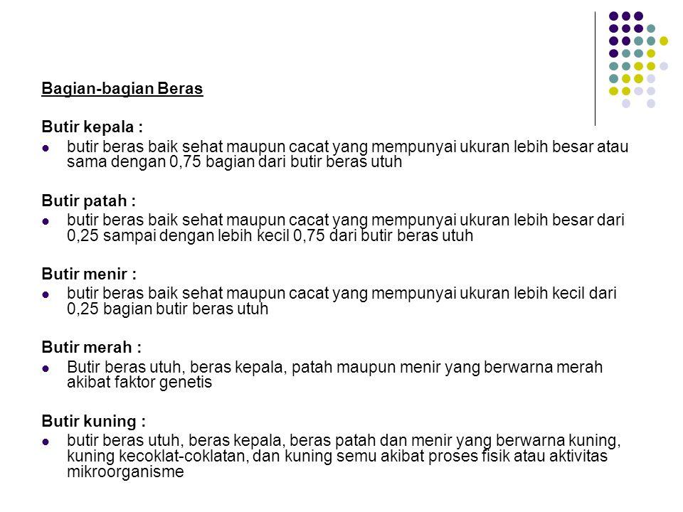 Bagian-bagian Beras Butir kepala : butir beras baik sehat maupun cacat yang mempunyai ukuran lebih besar atau sama dengan 0,75 bagian dari butir beras