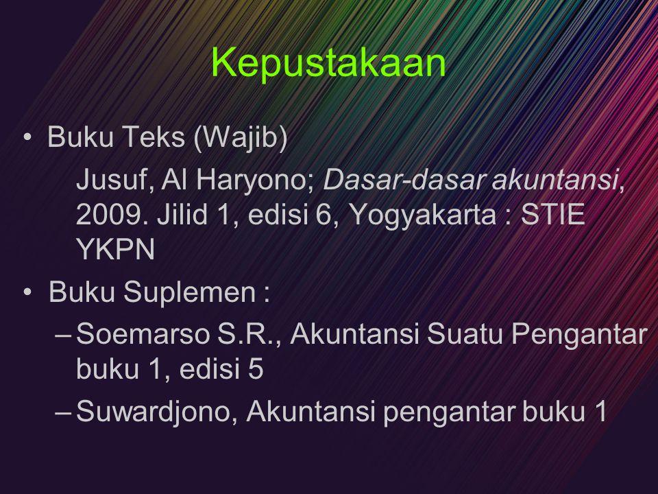 Kepustakaan Buku Teks (Wajib) Jusuf, Al Haryono; Dasar-dasar akuntansi, 2009. Jilid 1, edisi 6, Yogyakarta : STIE YKPN Buku Suplemen : –Soemarso S.R.,