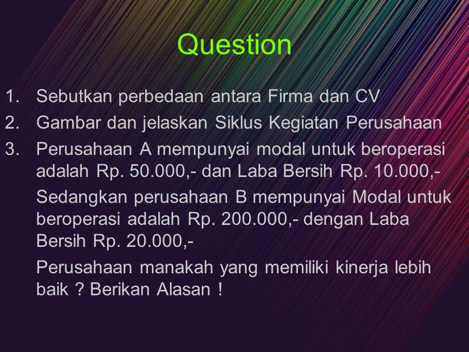 Question 1.Sebutkan perbedaan antara Firma dan CV 2.Gambar dan jelaskan Siklus Kegiatan Perusahaan 3.Perusahaan A mempunyai modal untuk beroperasi ada
