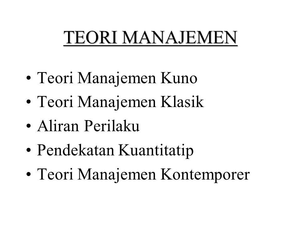 TEORI MANAJEMEN Teori Manajemen Kuno Teori Manajemen Klasik Aliran Perilaku Pendekatan Kuantitatip Teori Manajemen Kontemporer