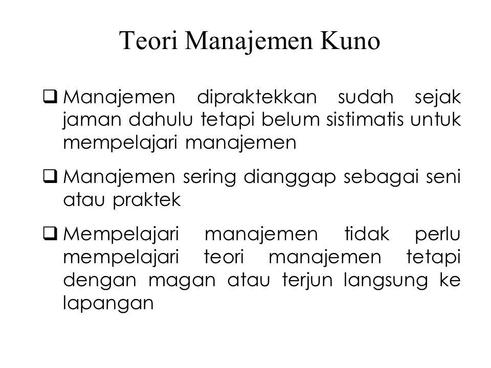 Teori Manajemen Kuno  Manajemen dipraktekkan sudah sejak jaman dahulu tetapi belum sistimatis untuk mempelajari manajemen  Manajemen sering dianggap sebagai seni atau praktek  Mempelajari manajemen tidak perlu mempelajari teori manajemen tetapi dengan magan atau terjun langsung ke lapangan