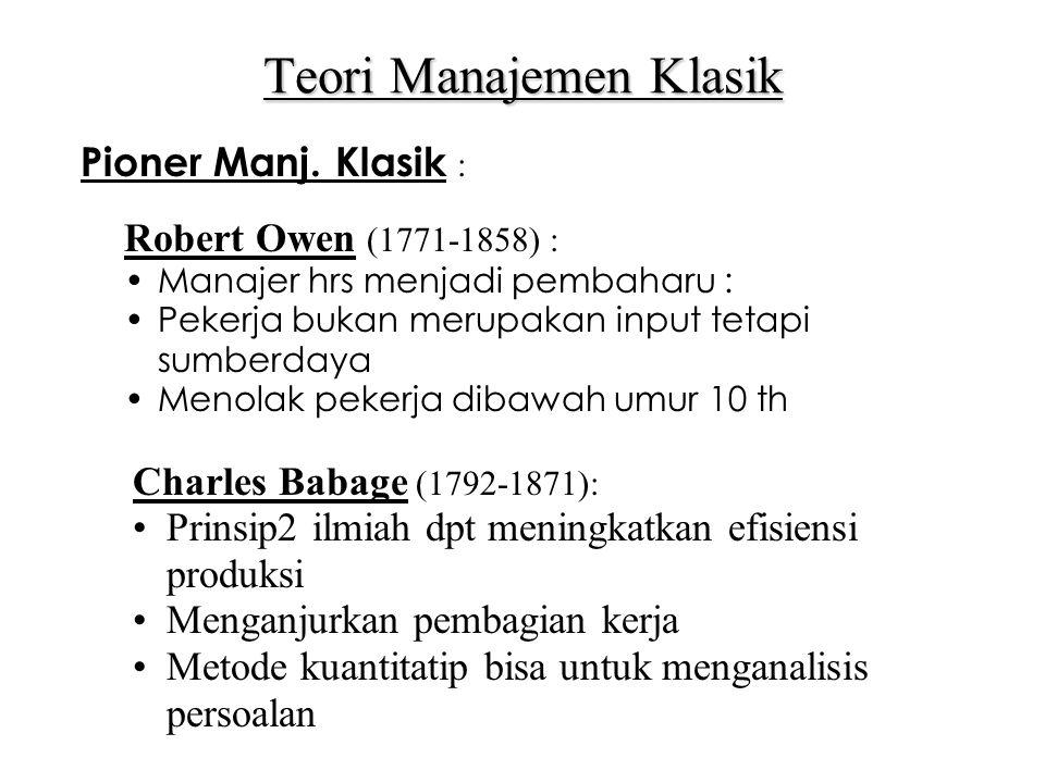 Teori Manajemen Klasik Pioner Manj.
