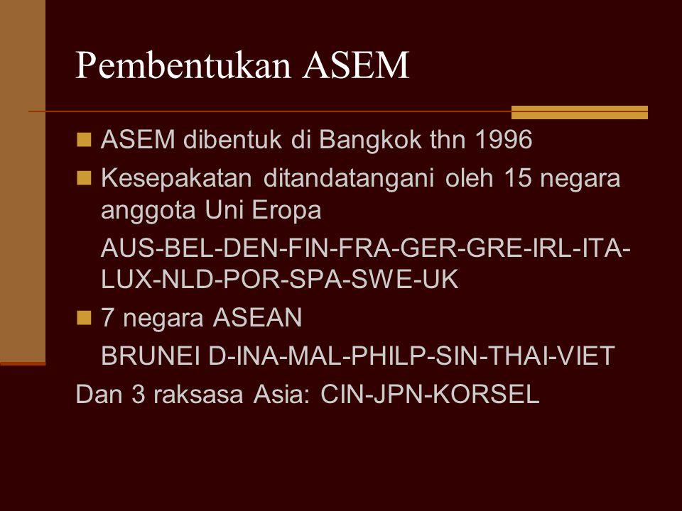 Pembentukan ASEM ASEM dibentuk di Bangkok thn 1996 Kesepakatan ditandatangani oleh 15 negara anggota Uni Eropa AUS-BEL-DEN-FIN-FRA-GER-GRE-IRL-ITA- LU