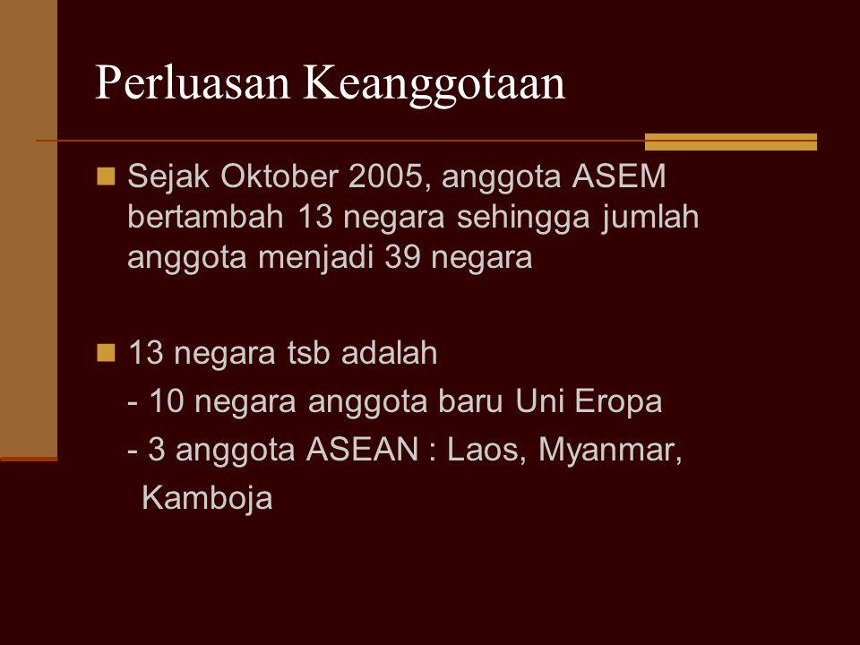 Tujuan pembentukan ASEM ASEM adalah sebuah forum kerjasama antara negara-negara ASEAN dan Uni Eropa Tujuannya : memperat pemahaman dua kawasan dan meningkatkan kerjasama untuk pembangunan ekonomi dan sosial yang berkelanjutan 3 pilar kerjasama ASEM: politik, ekonomi, sosial-budaya