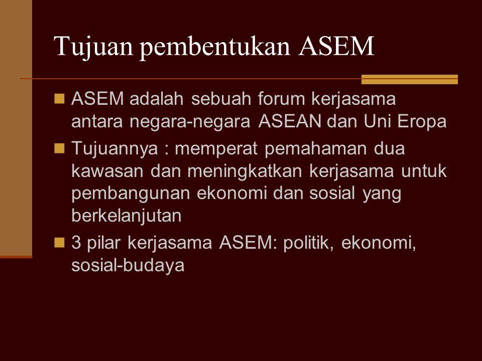 Tujuan pembentukan ASEM ASEM adalah sebuah forum kerjasama antara negara-negara ASEAN dan Uni Eropa Tujuannya : memperat pemahaman dua kawasan dan men