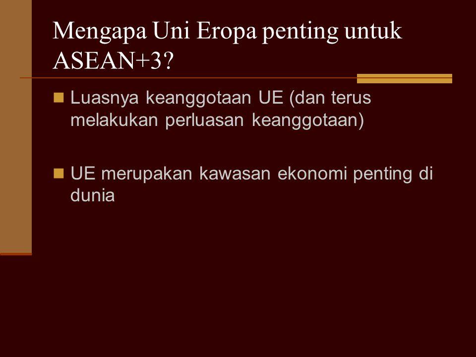 Mengapa Uni Eropa penting untuk ASEAN+3? Luasnya keanggotaan UE (dan terus melakukan perluasan keanggotaan) UE merupakan kawasan ekonomi penting di du
