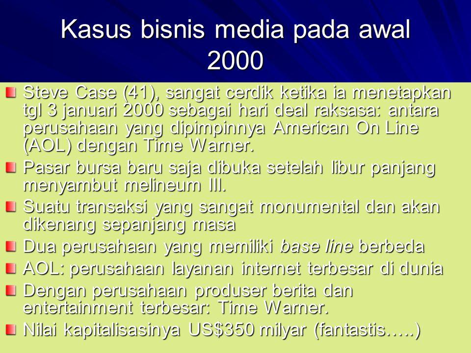 Kasus bisnis media pada awal 2000 Steve Case (41), sangat cerdik ketika ia menetapkan tgl 3 januari 2000 sebagai hari deal raksasa: antara perusahaan yang dipimpinnya American On Line (AOL) dengan Time Warner.