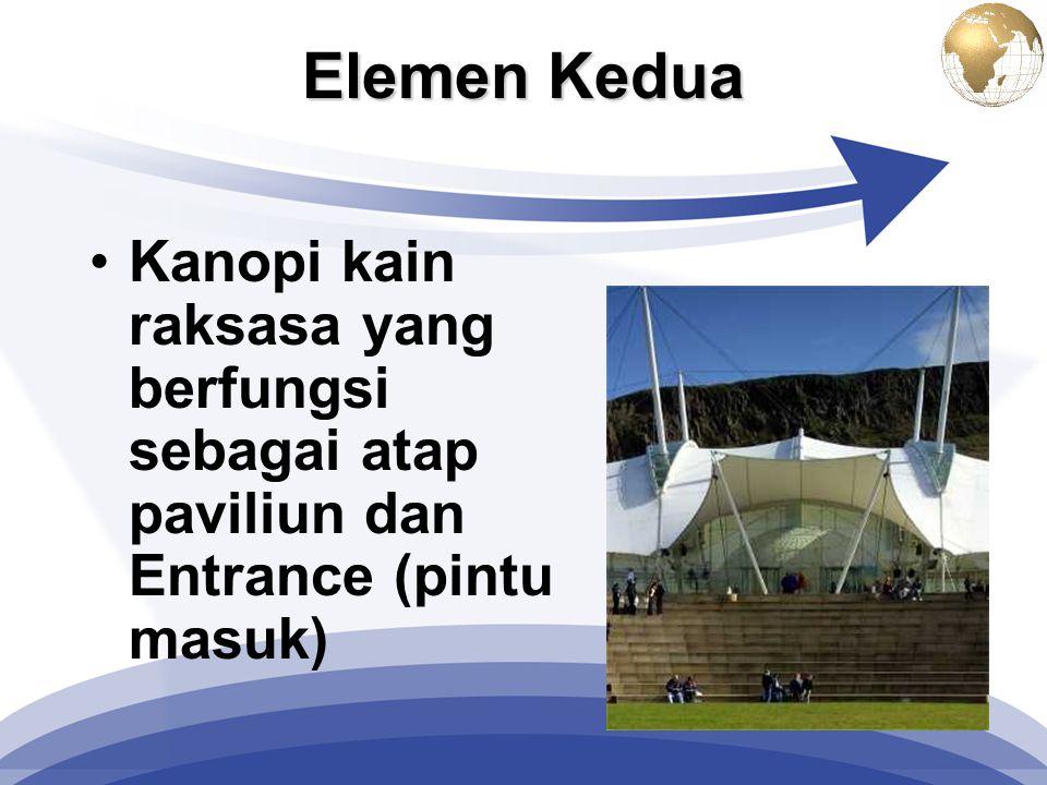 Elemen Kedua Kanopi kain raksasa yang berfungsi sebagai atap paviliun dan Entrance (pintu masuk)