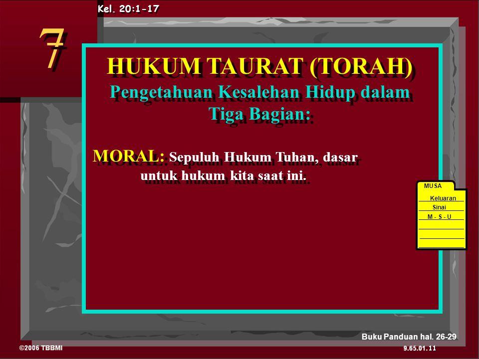HUKUM TAURAT (TORAH) Pengetahuan Kesalehan Hidup dalam Tiga Bagian: MORAL: Sepuluh Hukum Tuhan, dasar untuk hukum kita saat ini.