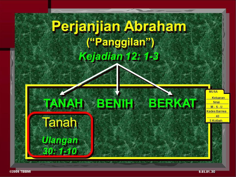 Perjanjian Abraham Ulangan 30: 1-10 Ulangan 30: 1-10 BERKAT BENIH TANAH Tanah Kejadian 12: 1-3 ( Panggilan ) 40 MUSA Sinai M - S - U Kades Barnea 40 5 Kotbah Keluaran 30