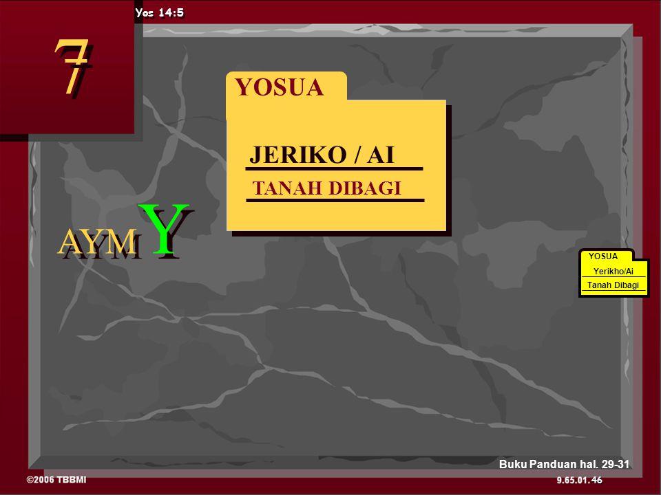JERIKO / AI TANAH DIBAGI YOSUA AYM Y 7 7 Yos 14:5 YOSUA Yerikho/Ai Tanah Dibagi 46 Buku Panduan hal.