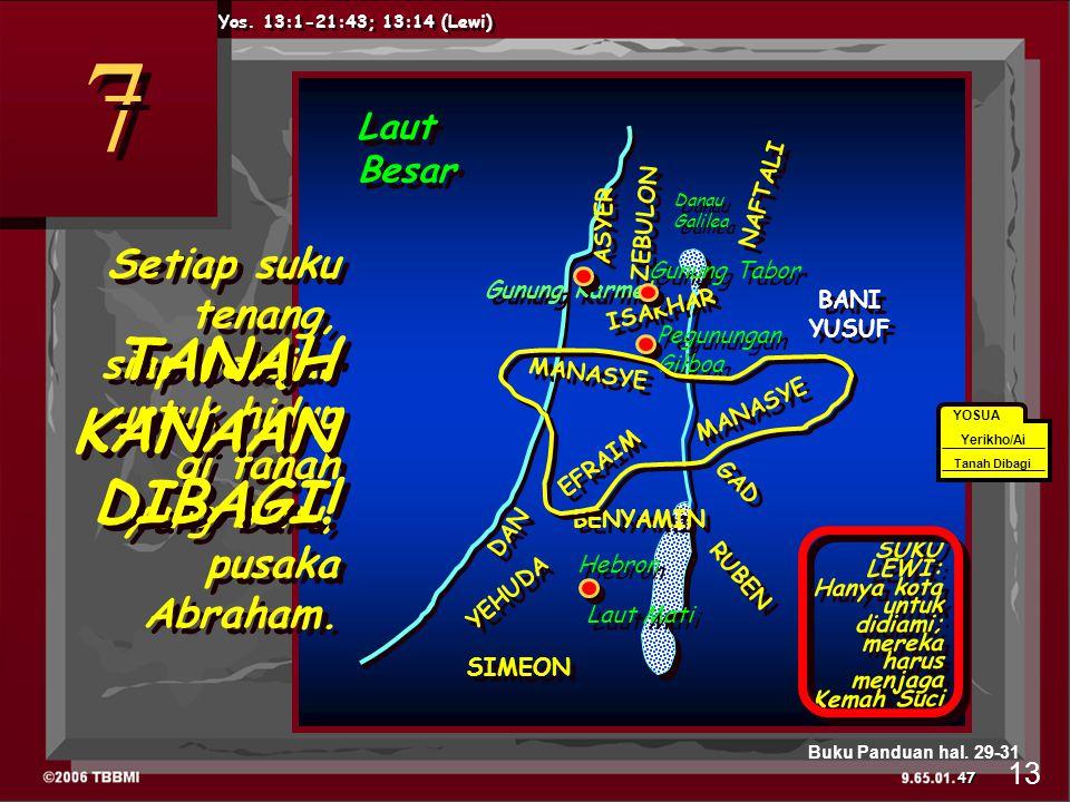 7 7 Danau Galilea Pegunungan Gilboa Hebron ASYER ISAKHAR GAD EFRAIM BENYAMIN RUBEN DAN YEHUDA SIMEON MANASYE NAFTALI ZEBULON Gunung Karmel Gunung Tabor Laut Mati Laut Besar SUKU LEWI: Hanya kota untuk didiami; mereka harus menjaga Kemah Suci Yos.