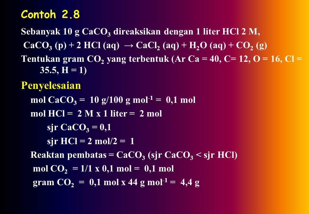 Contoh 2.7 Sebanyak 1 mol KIO 3 direaksikan dengan 4 mol KI dan 6 mol HCl, reaksi : KIO 3 + 5KI + 6HCl → 6 KCl + 3I 2 + 3H 2 O Apakah semua reaktan ak