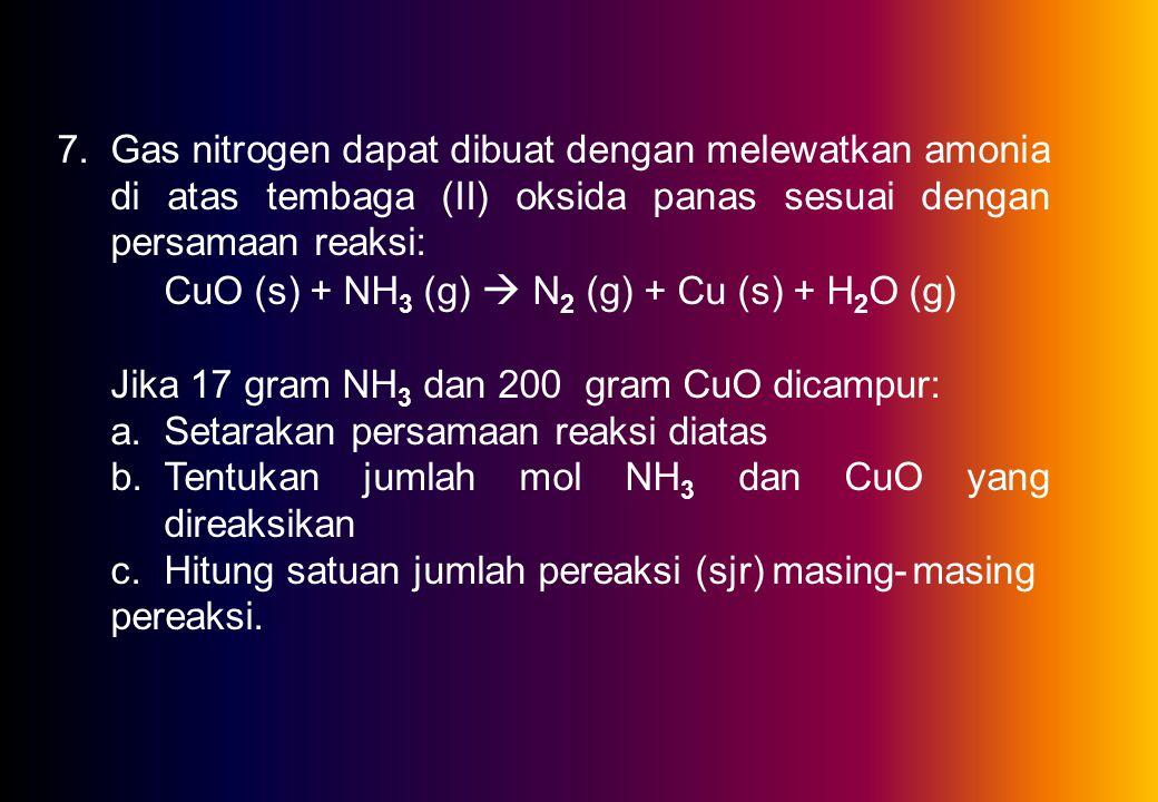 6.Besi cair dibuat dari bijih besi (Fe 2 O 3 ) dengan tiga langkah dalam tanur sembur sebagai berikut: Fe 2 O 3 (s) + CO (g)  Fe 3 O 4 (s) + CO 2 (g)