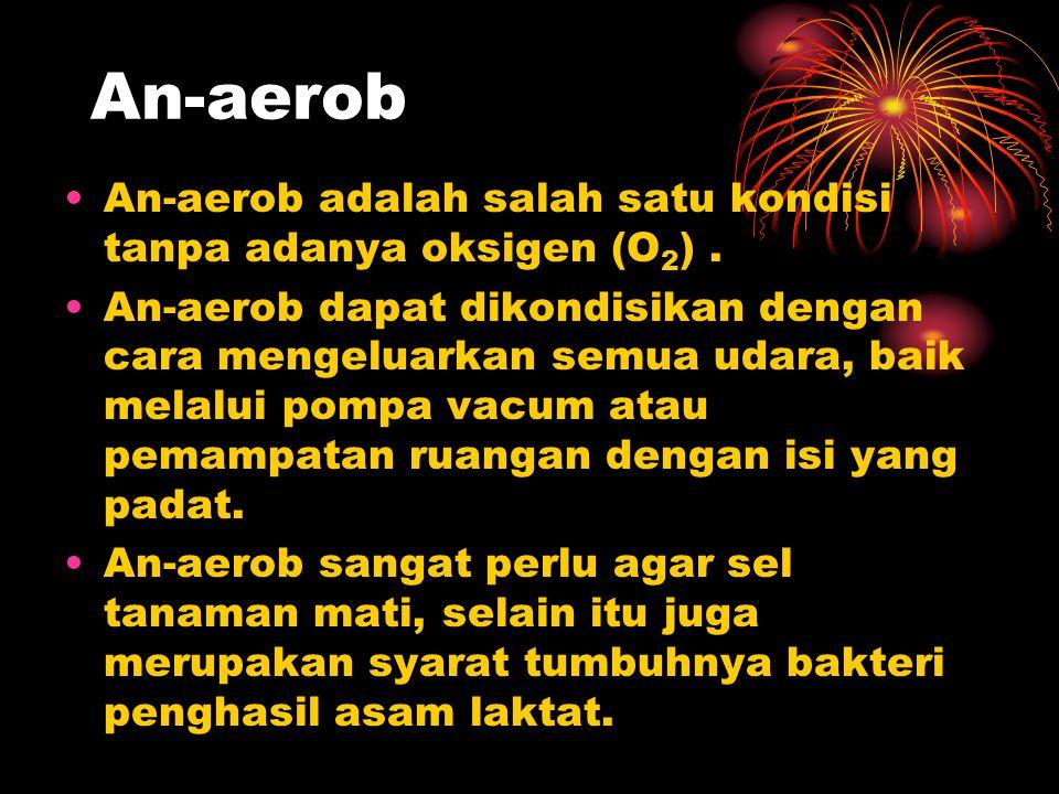 An-aerob An-aerob adalah salah satu kondisi tanpa adanya oksigen (O 2 ). An-aerob dapat dikondisikan dengan cara mengeluarkan semua udara, baik melalu
