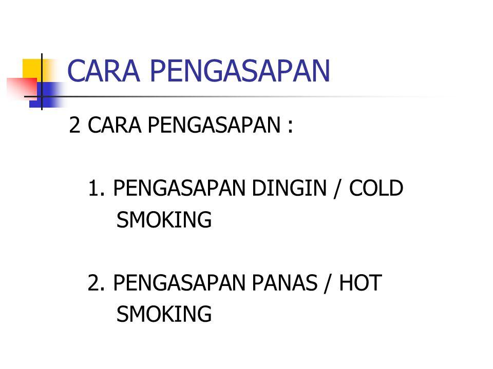 CARA PENGASAPAN 2 CARA PENGASAPAN : 1. PENGASAPAN DINGIN / COLD SMOKING 2. PENGASAPAN PANAS / HOT SMOKING
