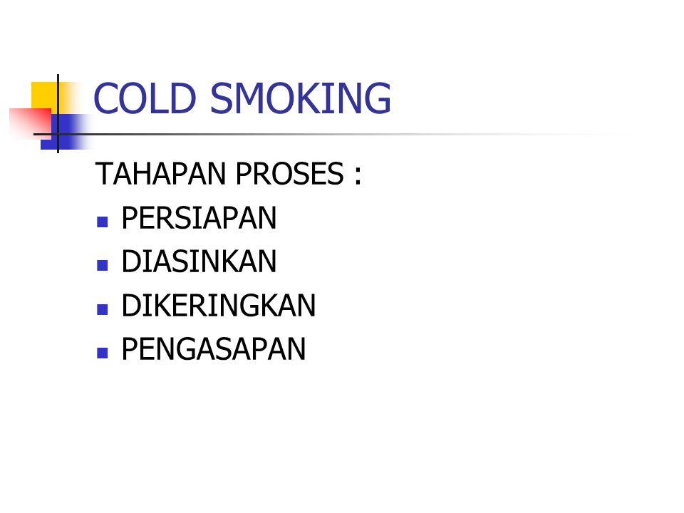 COLD SMOKING TAHAPAN PROSES : PERSIAPAN DIASINKAN DIKERINGKAN PENGASAPAN